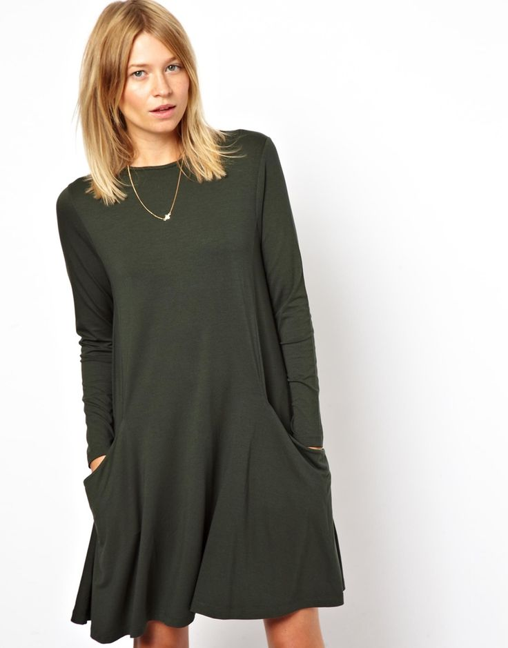 Swing Dress With Pockets And Long Sleeves