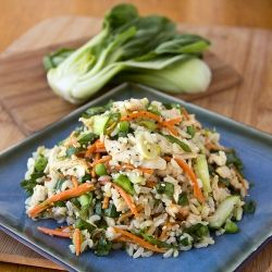 Asian-Style Brown Rice Salad in Orange Sesame-Soy Dressing with Baby Bok Choy Greens, Carrots, Petite Peas and Shredded Chicken: Dressing, Asian Style Brown Rice Salad, Baby Bok, Brown Rice Recipes, Food, Healthy, Brown Rice Salad 07 15 12 5 Ca, Favorite Recipes