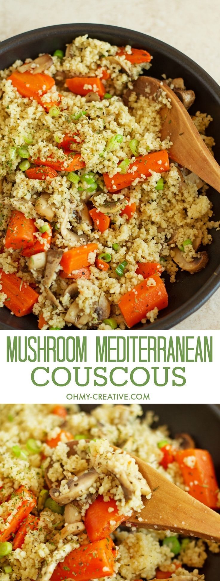 This Mushroom Mediterranean Couscous Recipe with carrots is sauteed with lemon juice and garlic. A meatless, quick and delicious dinner idea or side dish! Add it to your vegetarian recipes! Popular Pins by http://OHMY-CREATIVE.COM