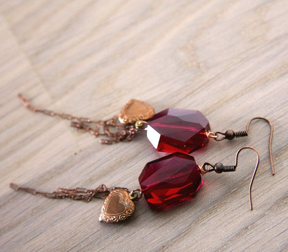 fuchsia earrings with big swarovski crystals and by nanofactory, $30.00