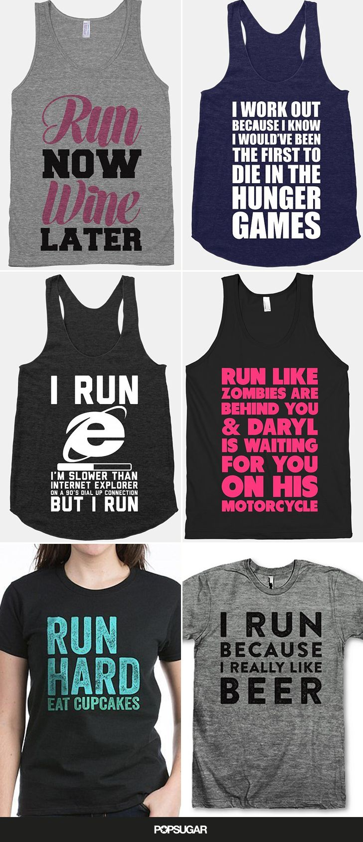 These supercute tees are mind readers — run now, wine later, right? Treat yourself with one of these graphic workout shirts, and you'll be motivated to hit the pavement or show it off at the gym.