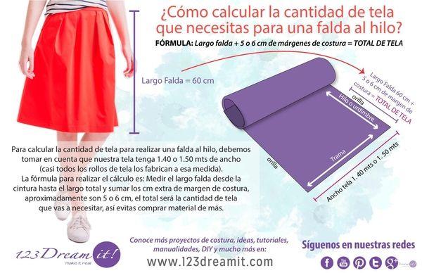 Para calcular cuanta tela necesitas para hacer una falda al hilo, es muy sencillo usando esta técnica. Da click en la imagen para conocer un poco más