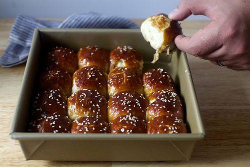 pretzel parker house rolls     ==   http://smittenkitchen.com/blog/2014/11/pretzel-parker-house-rolls/