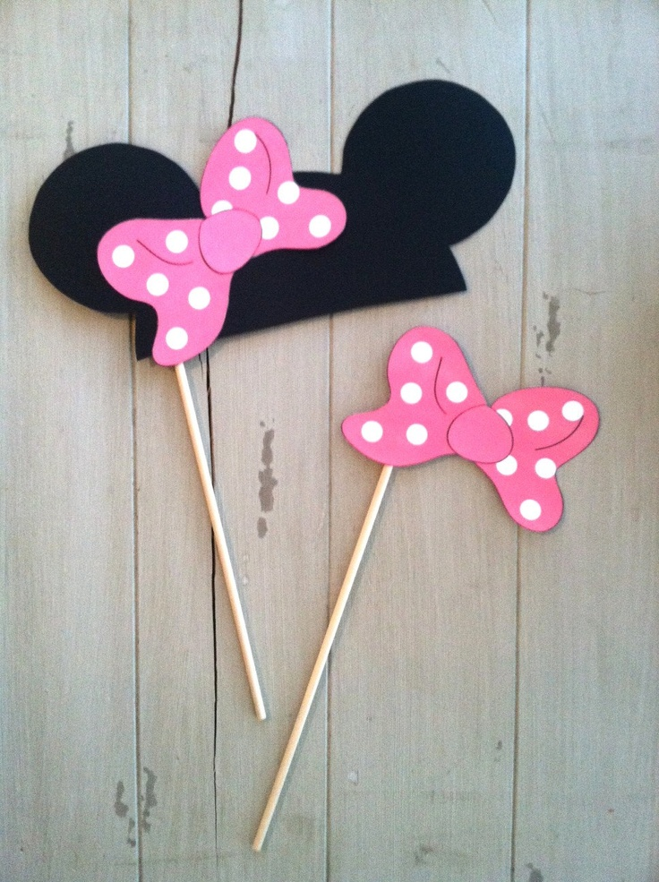 Mickey and Minnie Mouse Photo Booth Party Props- Red or Pink. $9.50, via Etsy.