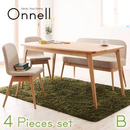 天然木北欧スタイルダイニング【Onnell】オンネル/4点セット Bタイプ(テーブル+ソファベンチ+チェア×2)【楽天市場】