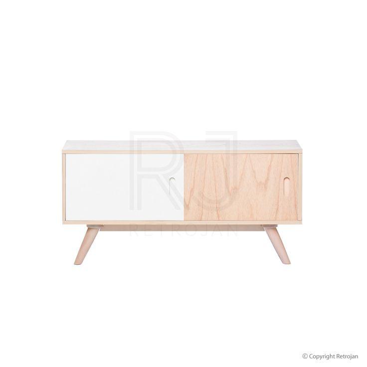 Alexandra Retro Sideboard - Light Natural / Light Natural & White