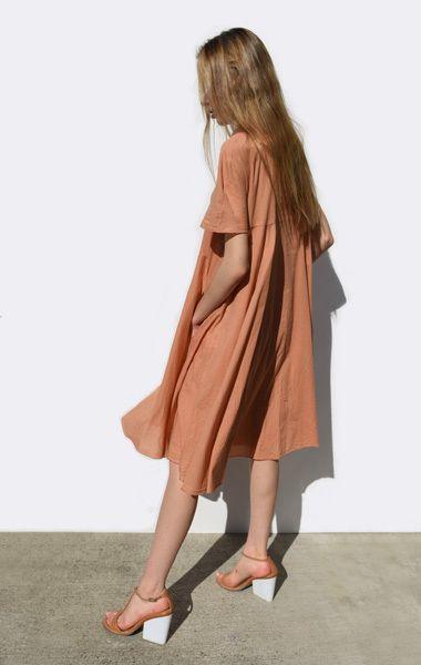 copper tan tshirt loose tent dress Tan White block heel shoes