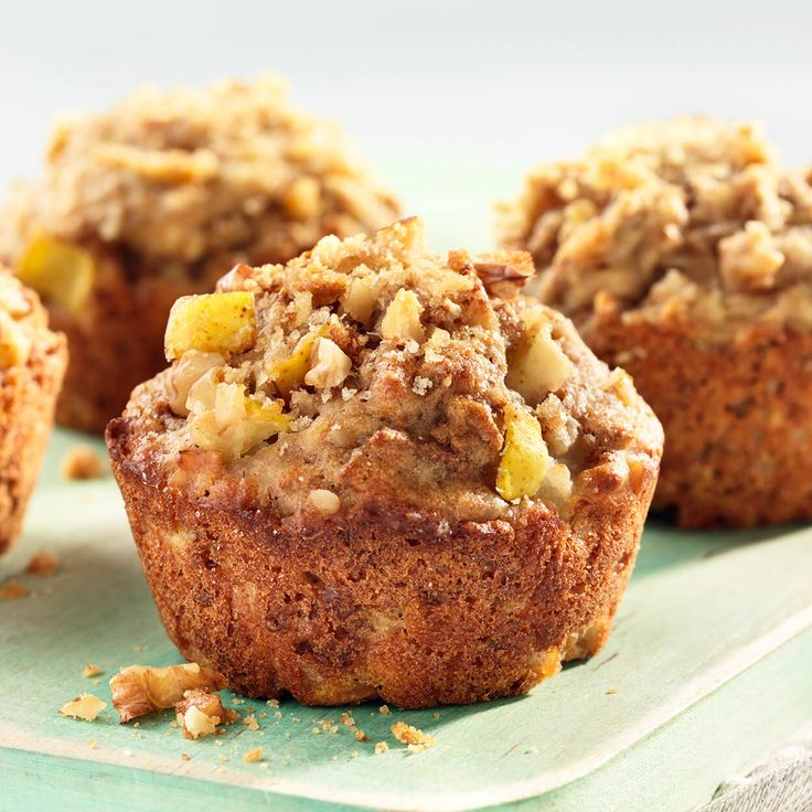 Pear Nutmeg Walnut Bran Muffins