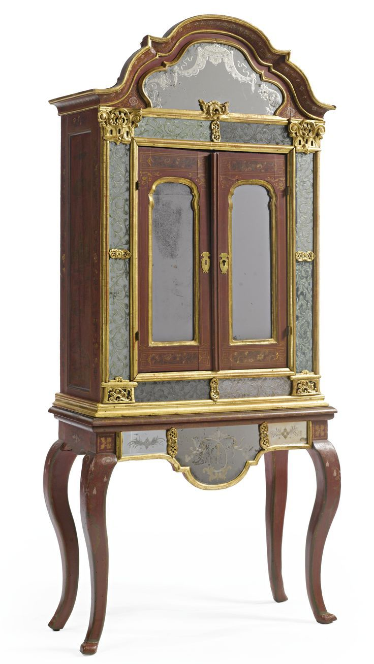 Antique furniture styles - A Portuguese Rococo Parcel Gilt Scarlet Lacquered And Etched Glass Mounted Cabinet Century