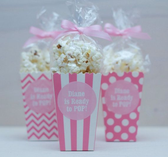 12 Custom Popcorn Box Favors Personalized by modernzebradesign