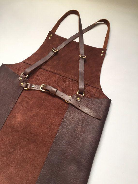 Leather apron cross back apron distressed Cognac by PAULAKIRKWOOD