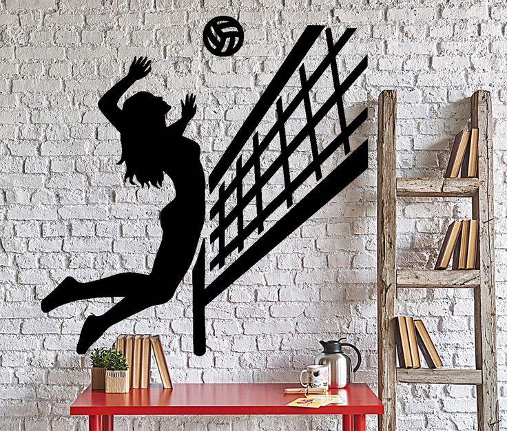Wall Vinyl Decal Woman Girl Beach Volleyball Player Sport Home Decor z4349