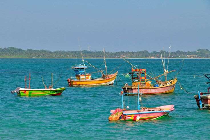 Colourful fishing boats in Tangalle Harbour