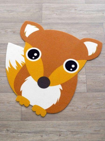 Cool Kurzflor Kinder Teppich Fuchs braun orange Konturenschnitt x cm Teppiche Kinder Teppiche