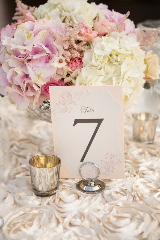 Hydrangea and rose centerpieces on champagne rosette linen