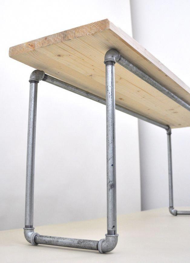 DIY-Set: Holz- und Stahlbank-Kit // Möbel-DIY-Kit: Bauen Sie Ihre E …