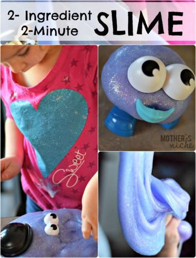 This glitter slime recipe is SUPER easy to make and only requires 2 ingredients. Plus, it's a great sensory activity for your little ones. #kidscrafts