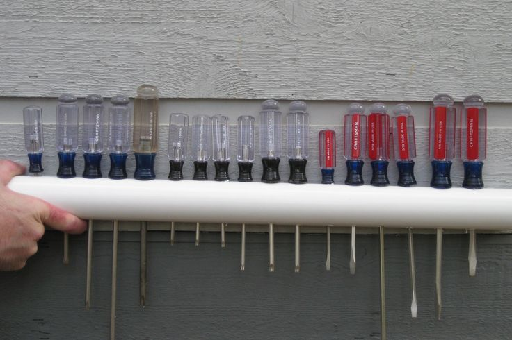 This is a great idea to keep the screwdrivers organized and in reach.  Simple to make with a PVC pipe, drill and measuring tape!