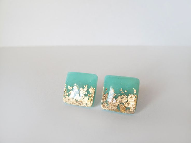 Mint Green Gold Square Stud Earrings by LaLiLaJewelry on Etsy, $16.00