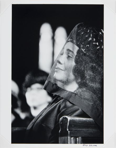 Flip Schulke, American (20th century)  Coretta Scott King, Funeral of Martin Luther King, Jr., 1968, Series/Book Title: Civil Rights Portfolio, Mother Jones International Fund for Documentary Photograhy, Creation Place: Atlanta, Georgia, United States, Gelatin silver print, image: 33.5 x 22.3 cm (13 3/16 x 8 3/4 in.)  sheet: 35.3 x 27.7 cm (13 7/8 x 10 7/8 in.), Harvard Art Museums/Fogg Museum, Transfer from the Carpenter Center for the Visual Arts, Beinecke Fund.