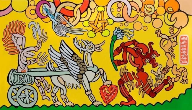 Philhelm (©2008 artmajeur.com/philhelm) Nous découvrons une femme aurige tenant dans sa main gauche le Monogramme de Philhelm, un cheval-oiseau femelle se tient à l'arrêt, le sabot droit sur un symbole en forme de cœur, certainement une feuille stylisée d'une plante de l'île qui fait également partie de la première écriture hiéroglyphe minoenne. En face arrive un minotaure en course, bien embarrassé par la présence d'un chien querelleur, d'autant plus que l'empressement de notre ...