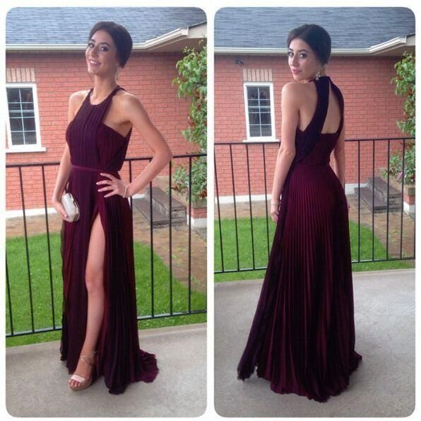 2016 Burgundy Halter Neck High Split Evening Dresses Chiffon Ruched Sexy Back Fancy Fiesta Summer Long Garden Prom Gowns With Belt Formal Dresses For Women Long Evening Dresses From Allanhu, $96.34| Dhgate.Com