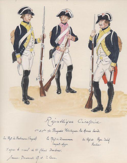Republique Cisalpine;   1e+2e 1/2brigade Helvitique. ex armee sarde. ex Rgt,du Bachmann, sergant, ex Rgt,du Zimmerman,sergant offi, ex Rgt,du Ryer Imhof,fusilier.