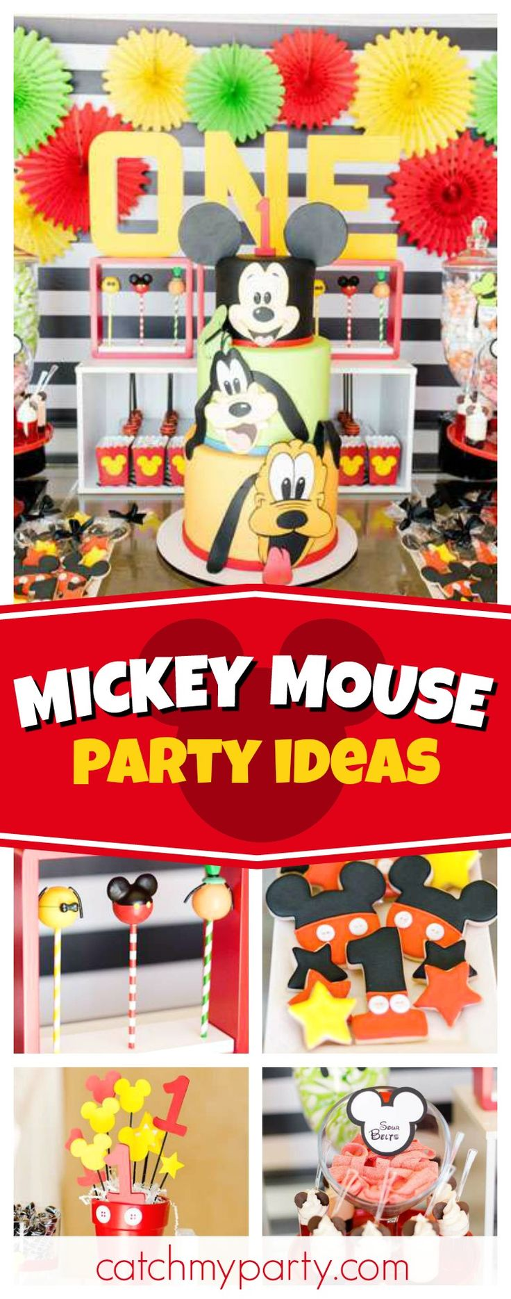 Check out this fun Mickey and Pals 1st birthday party! The birthday cake is incredible!! See more party ideas and share yours at CatchMyParty.com #mickey #disney
