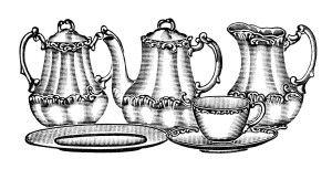 vintage tea set clip art, old fashioned tea set illustration, vintage kitchen clipart, antique dishes graphics, black and white clip art tea set