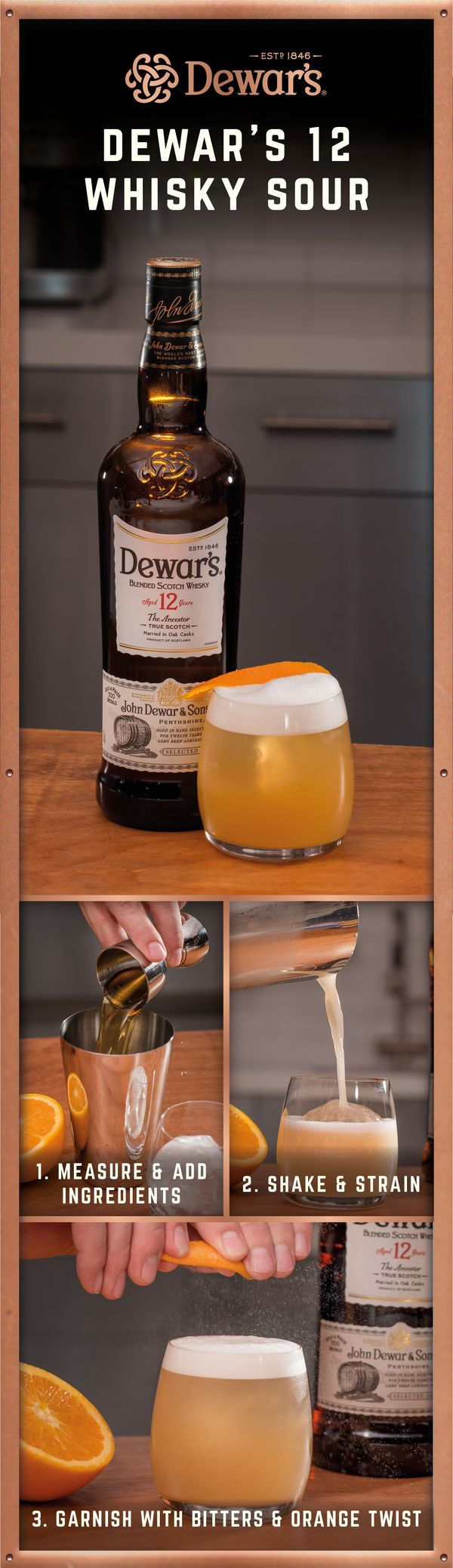 Ingredients: 1.5 oz DEWAR'S 12 Whisky | 1 egg white | .75 oz fresh lemon juice | .75 oz simple syrup (one part sugar, one part water) | Cherry or lemon wedge | Preparation: Pour the egg white into a cocktail shaker. Add ice. Shake briefly to aerate the wh
