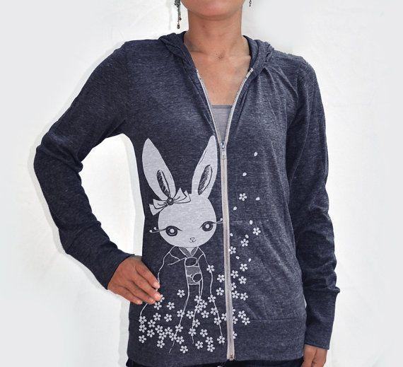 Women kimono bunny Eco Hether Zip Hoodie Heather navy blue by namu, $48.00