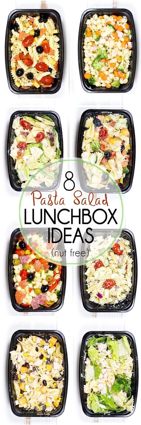 8 Pasta Salad Lunch Box Ideas, great for back to school and totally nut free. Delicious. My kids LOVED these so much. #lunch #schoollunch #kidslunch #onthegolunch #pasta #pastasalad