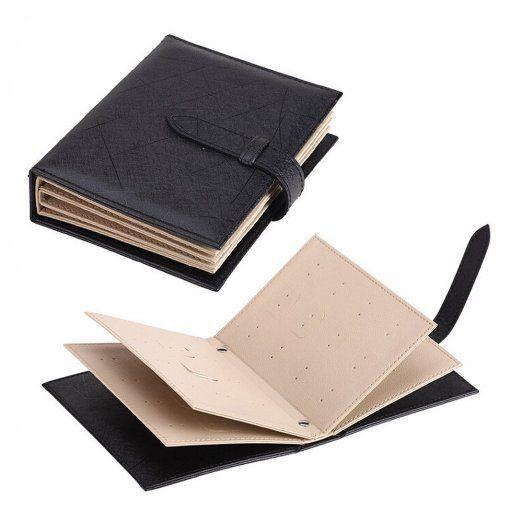 Organizzatore Libro per Orecchini - Organizzatore in Cuoio per 42 Coppia Orecchini - per Organizzare Orecchini in Ordine , Portatile in Viaggio ( Nero )
