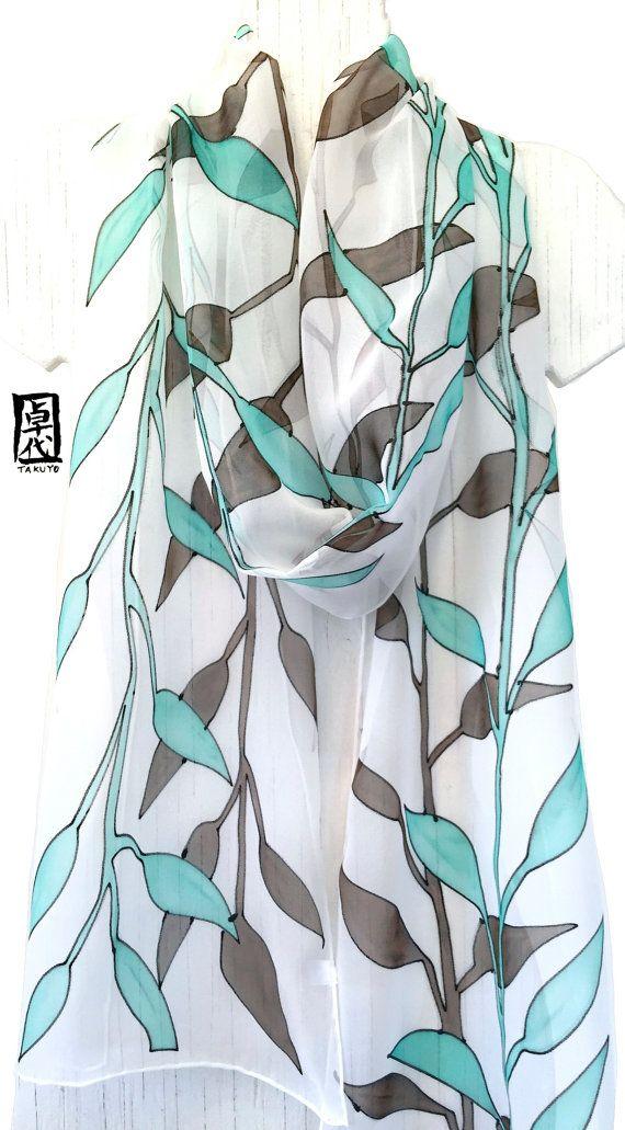 Mano dipinta seta sciarpa lunga, ETSY asap, Chiffon sciarpa seta, verde menta e…