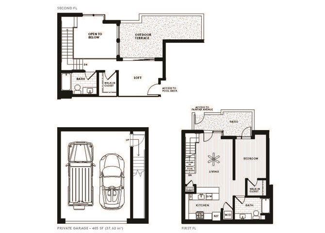 2 Bed 2 Bath Townhouse D3 Floor Plan Floor Plans Apartments For Rent Bedroom Studio