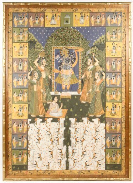 Lg. Indian Pichwai Painting, Vishnu w/ Sacred Cows : Lot 569