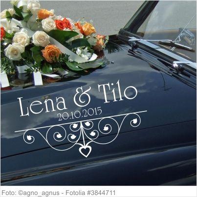 Autoaufkleber Hochzeit filigranes Ornament mit Namen und Datum
