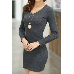 Long Sleeves V-Neck Solid Color Beam Waist Packet Buttock Casual Women's Knitting Dress