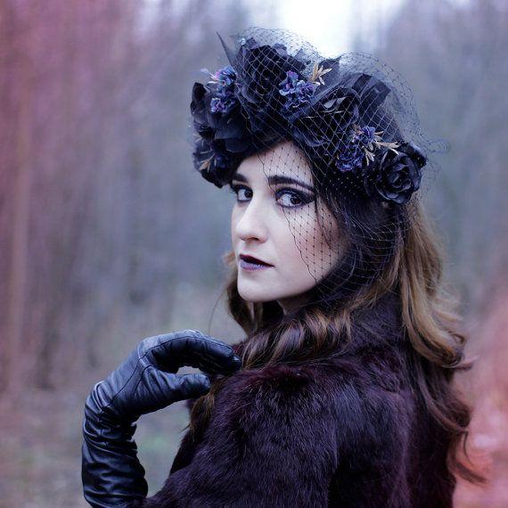 Black Flower Crown Gothic Flower Crown Black Flower: Black Roses Crown Gothic Black Roses Floral Headband Goth