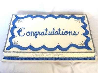 Blue White And Silver Quot Congratulations Quot Sheet Cake