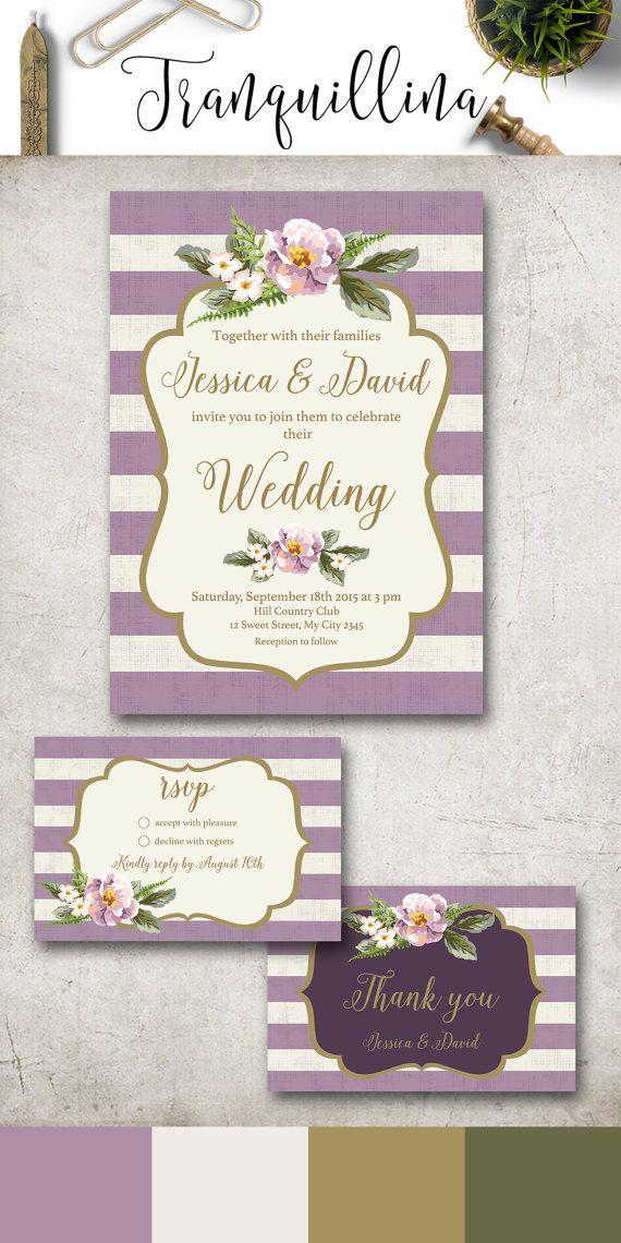 Floral Wedding Invitation Printable, Lilac Wedding Invitation Suite, Gold & Lavender Wedding Invite, Lilac Stripes Wedding Invite. More info at: tranquillina.etsy.com