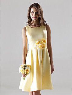 A-line Square Knee-length Satin Bridesmaid/ Wedding Party Dr... – USD $ 79.99