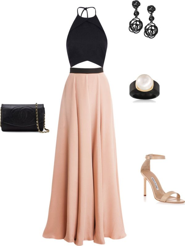Blush and Black.  Black crop halter top, blush maxi skirt, nude heels, pearl earring, chanel black leather clutch