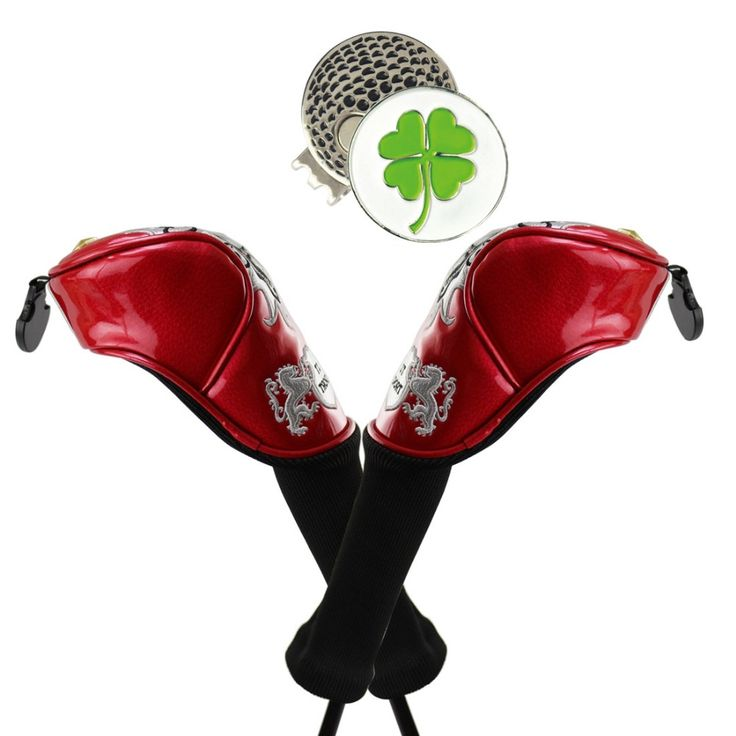 2pcs Fairway PU leather Golf Headcovers Interchangeable Golf Headcover with free hat clip and ball marker