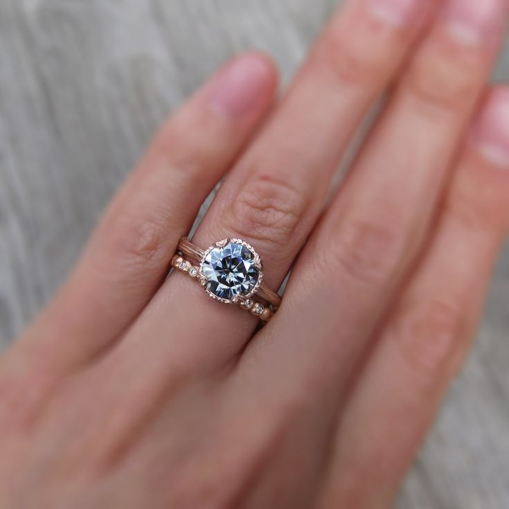 Grey Moissanite Twig Engagement Ring, in rose gold. By Kristin Coffin Jewelry