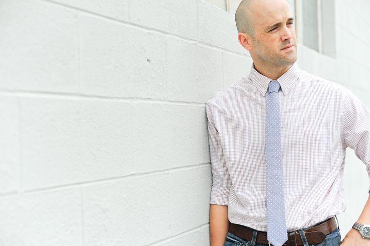 30€ - Notch MENDEL, schmale Krawatte in Hellblau mit weißen Pünktchen