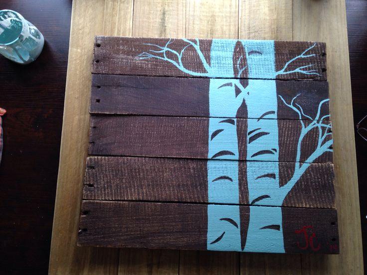 Aspens on reclaimed pallet wood