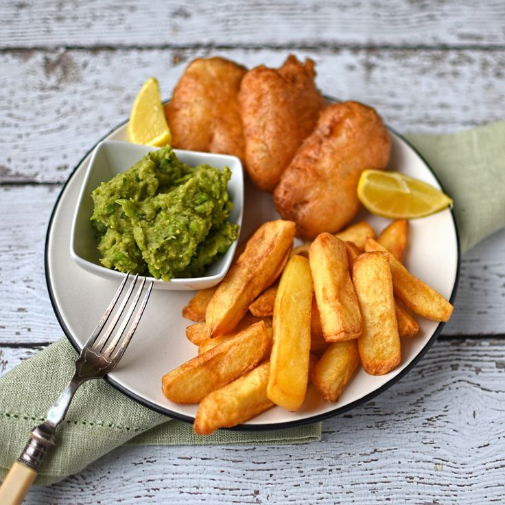 Beer battered halloumi with chips and mushy peas. Use tofu to veganise.
