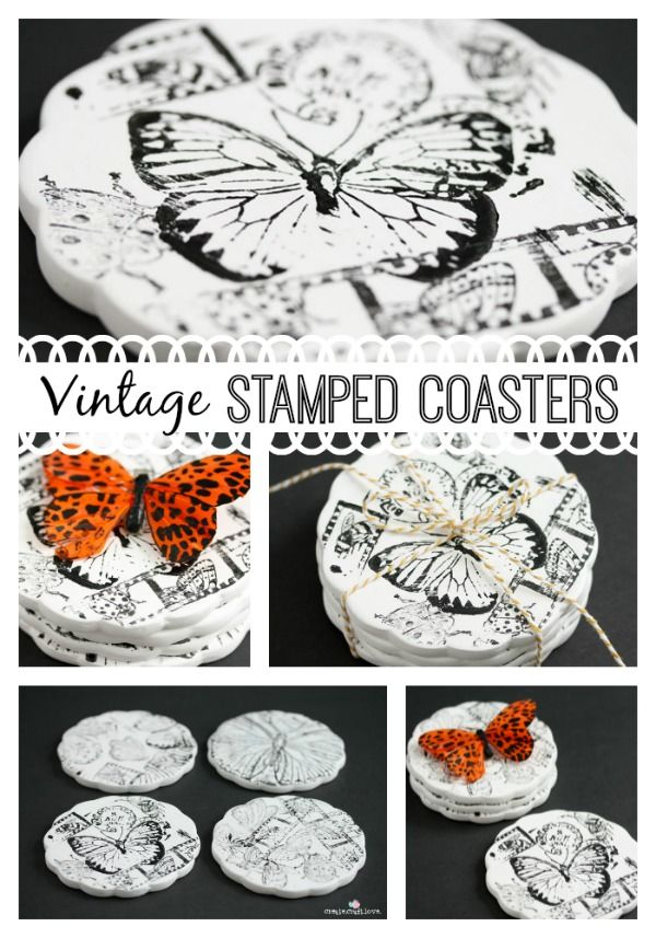 Join me at the Branson Hills Michaels location on Feb 16th from 1-4pm to make these Vintage Stamped Coasters!  #ad #MPinterestParty #homedec...