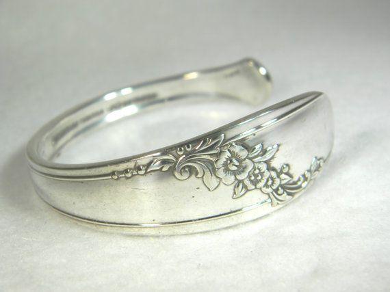 Silver Spoon Bracelet Antique Silverware Jewelry 1885 Crown Bracelets Pinterest And
